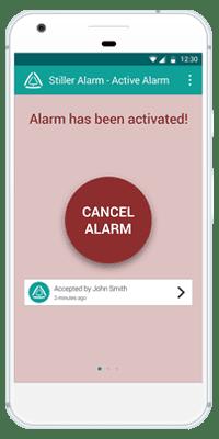 Stiller Alarm Mobile App Active Alarm Step 2