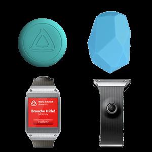 Stiller Alarm Alarmierung über Mobile App zusammen mit Alarm Button, Bluetooth Button, iBeacon, Smartwatch