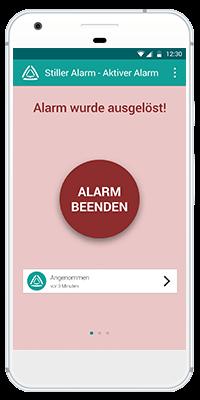 Stiller Alarm Mobile App - Aktiver Alarm - Schritt 3: Der Alarm wurde ausgelöst. Sie können sich in der App anschließend anzeigen lassen, wer den Alarm wann angenommen hat und Ihnen zur Hilfe kommt. Bei Fehlalarm oder Deeskalation kann der Alarm beendet werden.