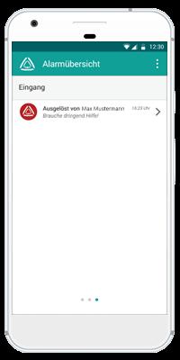 Stiller Alarm Mobile App - Aktiver Alarm - Schritt 4: Der Alarm erreicht den Empfänger sofort.