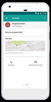 Stiller Alarm Mobile App - Aktiver Alarm - Schritt 5: Details zur Position des Alarmierenden können eingesehen werden. Es kann entsprechend Ihrer internen Richtlinien sofort reagiert werden (z.B. Anruf).
