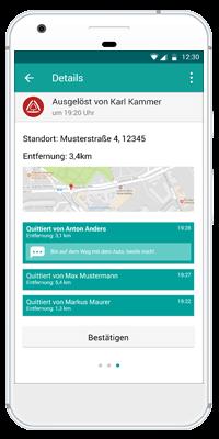Stiller Alarm Mobile App - Aktiver Alarm - Schritt 6: Die Alarm-Empfänger sehen in der App, ob und welche Kollegen der Alarmgruppe bereits reagiert haben.