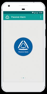 Stiller Alarm Mobile App - Passiver Alarm - Schritt 1: Wischen Sie mit dem Finger nach rechts, um zum Passiven Alarm zu kommen.