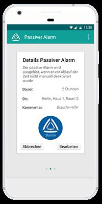 Stiller Alarm Mobile App - Passiver Alarm - Schritt 3: Aktivieren Sie den Passiven Alarm.