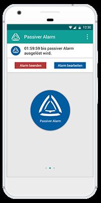 Stiller Alarm Mobile App - Passiver Alarm - Schritt 4: Ein Timer zeigt Ihnen an, wann der Passive Alarm versendet wird. Sie können ihn jederzeit stoppen oder bearbeiten.