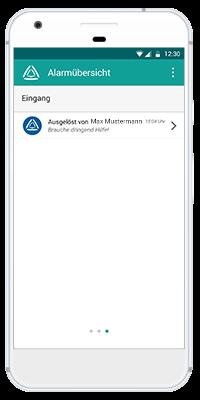 Stiller Alarm Mobile App - Passiver Alarm - Schritt 5: Eingang des Alarms beim Empfänger. Wird der Alarm nicht vor Ablauf der eingestellten Zeit beendet, so wird dieser zum Alarmzeitpunkt an die Alarmempfänger gesendet.