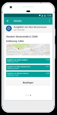 Stiller Alarm Mobile App - Passiver Alarm - Schritt 6: Der Alarmempfänger erhält alle notwendigen Informationen, um zu Handeln. Der Alarm kann bestätigt werden, um zu signalisieren, dass geholfen wird.
